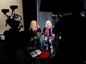 Dolly Parton and Emmylou Harris at Kingswood Productions.