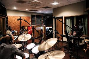 Recording session in Studio B at Kingswood Productions.
